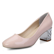 Brand New classic crystal heels round toe Shoes For Women natural leather rhinestone Dress Fashion Party  ladies pink red pumps