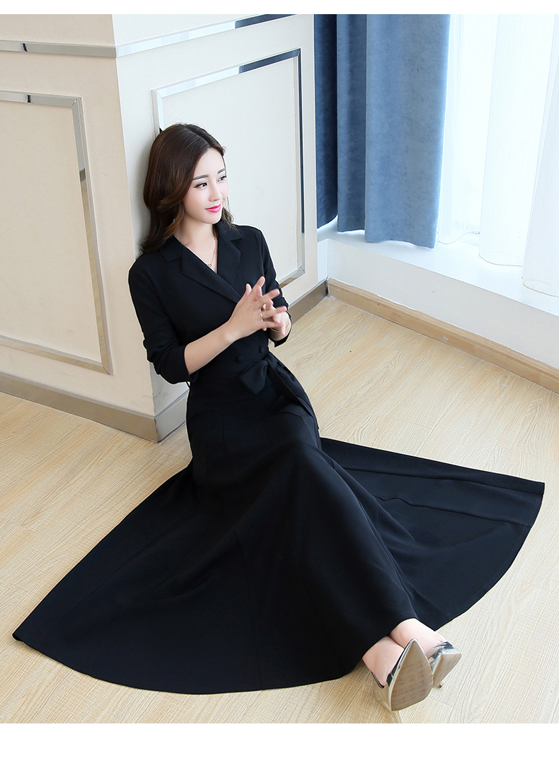 Spring and Autumn 2019 New Women's Dresses Korean Edition Long Sleeve Dresses Overlap Long Popular Temperament with Bottom 138