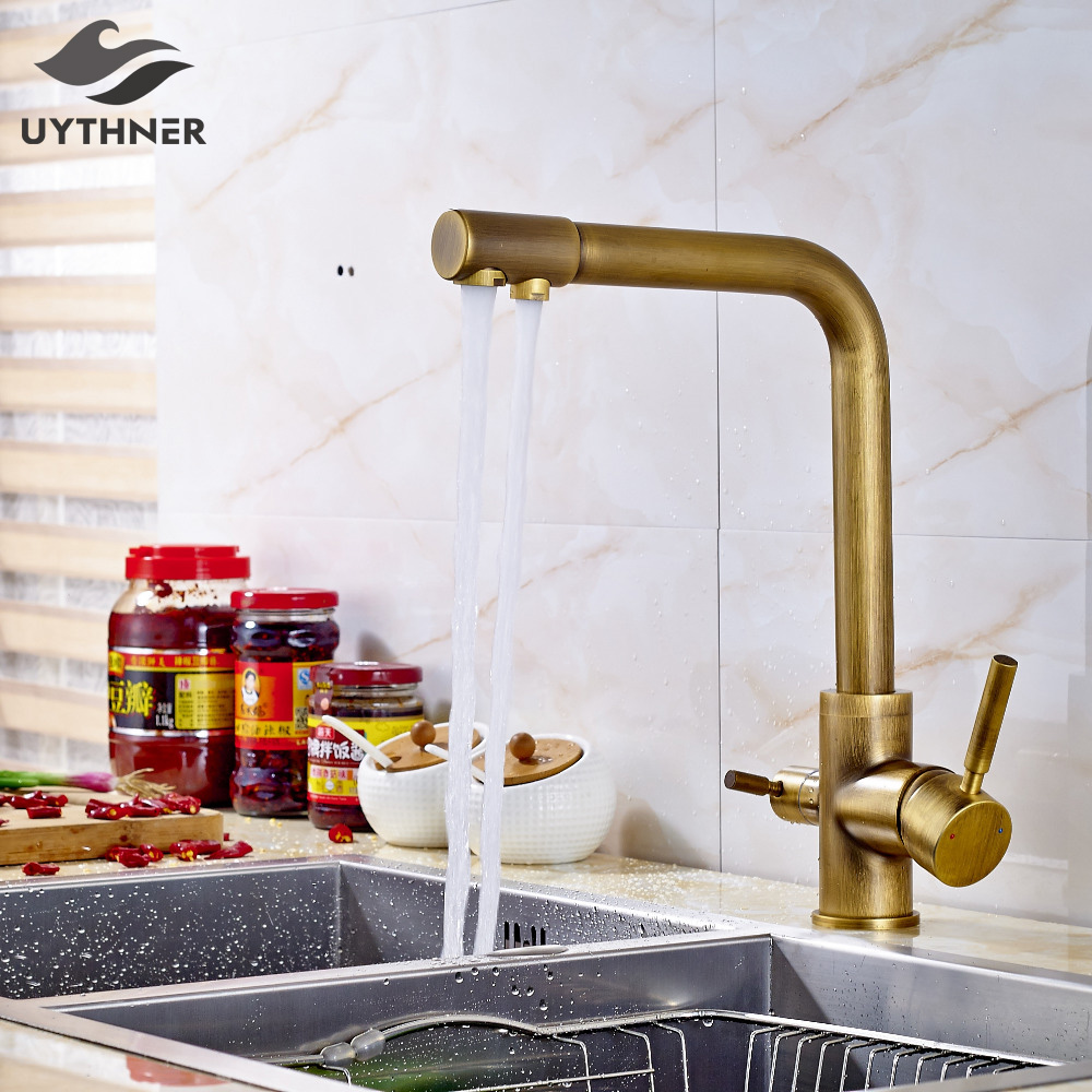 Uythner Solid Brass Kitchen Faucet Mixer Tap Dual Spouts Antique Brass Deck Mounted everso solid brass kitchen faucet double spouts 360 degree
