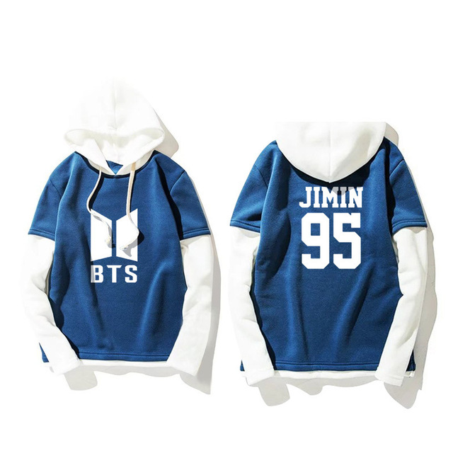 Fashion Patchwork Blue White Hoodie Kpop Blackpink Sweatshirt Pullover Women Long Sleeve Harajuku Clothes ROSE LISA JISOO JENNIE