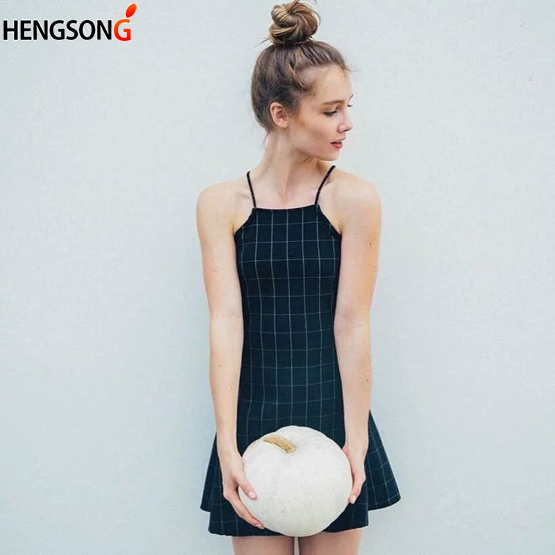 Old School Preppy Style Student Cute Girls Ladies Dress Black Plaid Dress For Women Fashion Classic Spaghetti Strap Flared Dress