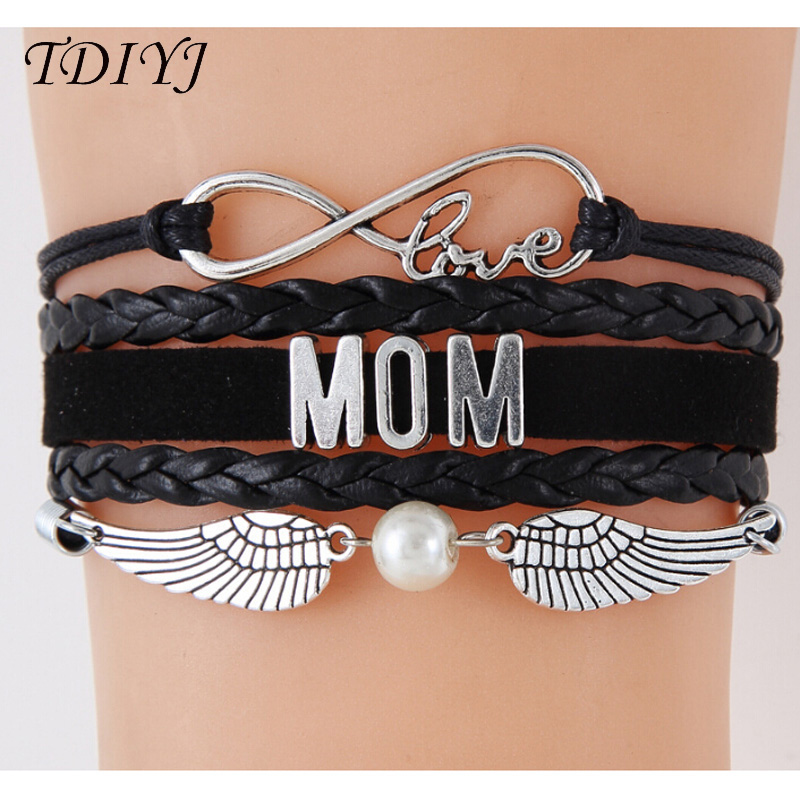 TDIYJ Hot Sale Multilayer Braided Infinity Love Mom Bracelet with Wings Charms Pendant for Girl/Women 6sets/lot ...