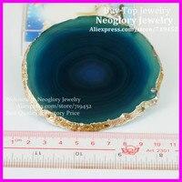 3 יחידות אמנות חצי יקר אבני חן טבעי ירוק פרוסת זכוכית בעל משקאות גביע ספל זכוכית Coaster Pad Druzy קוורץ Geode זכוכית