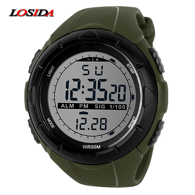 Losida Men Climbing Sports Digital Wristwatches Big Dial Military Watches Alarm G Style Shock Resistant Waterproof