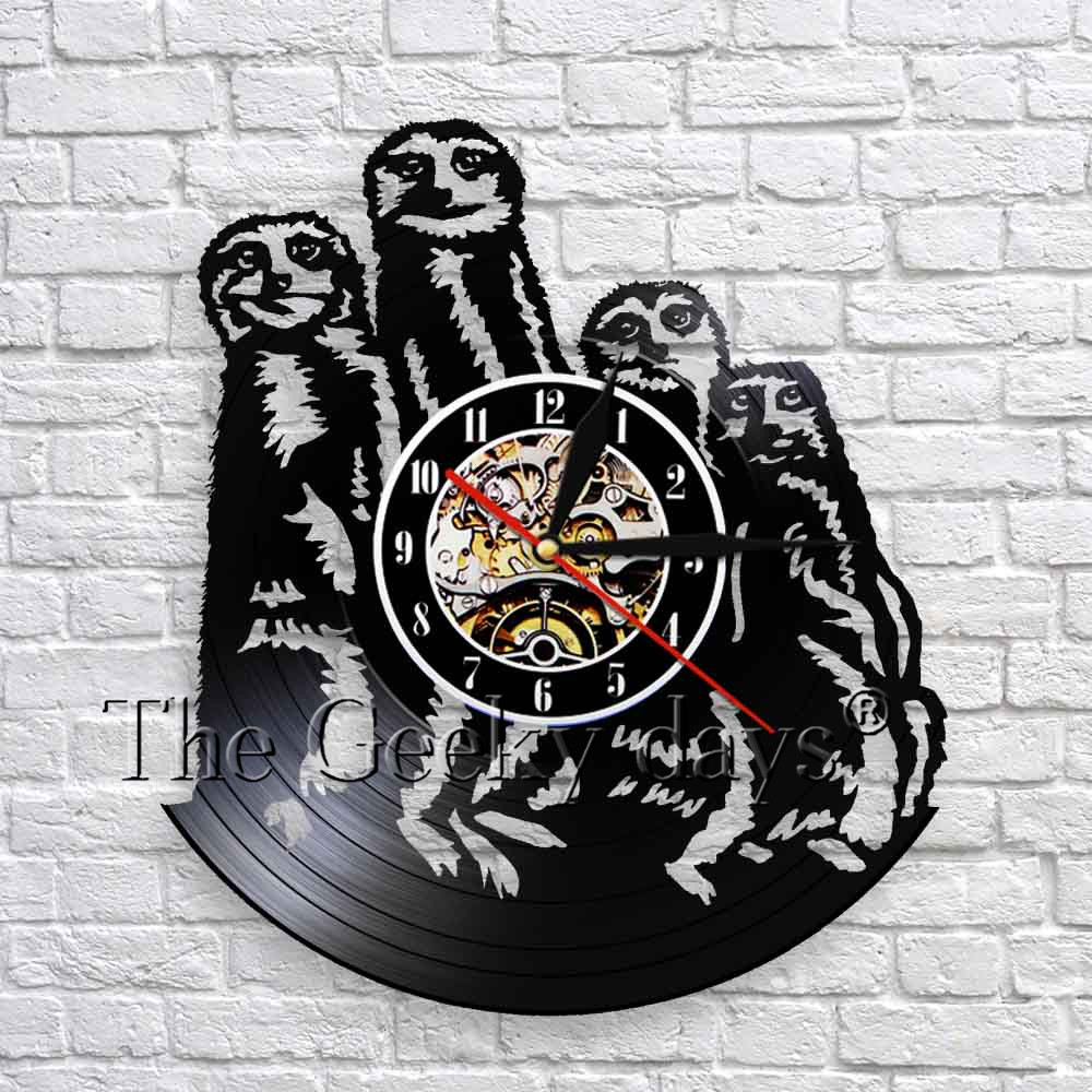 Safari Animals Meerkat Family Art Decor Wall Clock Modern Design Vinyl Record Wall Clock 3D Wall Watch Kid Room Decor