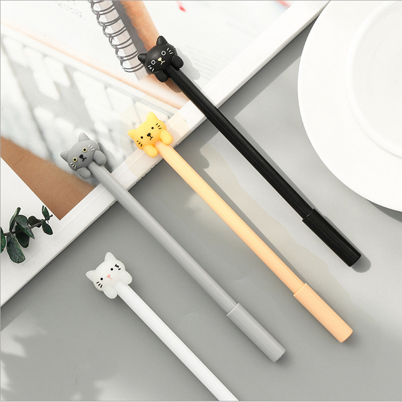 цена на 4pcs/lot kawaii Cat shaped gel pen 0.5 cute Neutral pen stationery canetas material escolar office school supplies papelaria