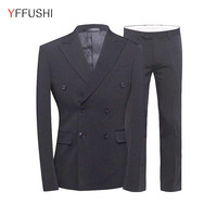 YFFUSHI 2017 New Arrival Men Suit Double Breasted Latest Coat Pant Designs 3 Pieces Smoking Masculino Business Style Plus 5XL