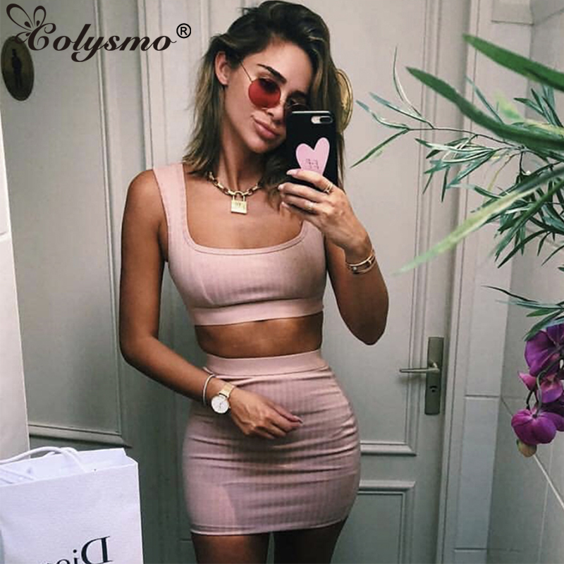 Colysmo Sexy Women Matching Sets Two Piece Set Women Ribbed Skrit Set Top  Two Piece Outfits d5625f30bb70