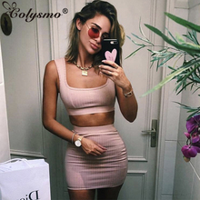 Colysmo Sexy Women Matching Sets Two Piece Set Ribbed Skrit Top Outfits Club Party Clothes Autumn 2018 New