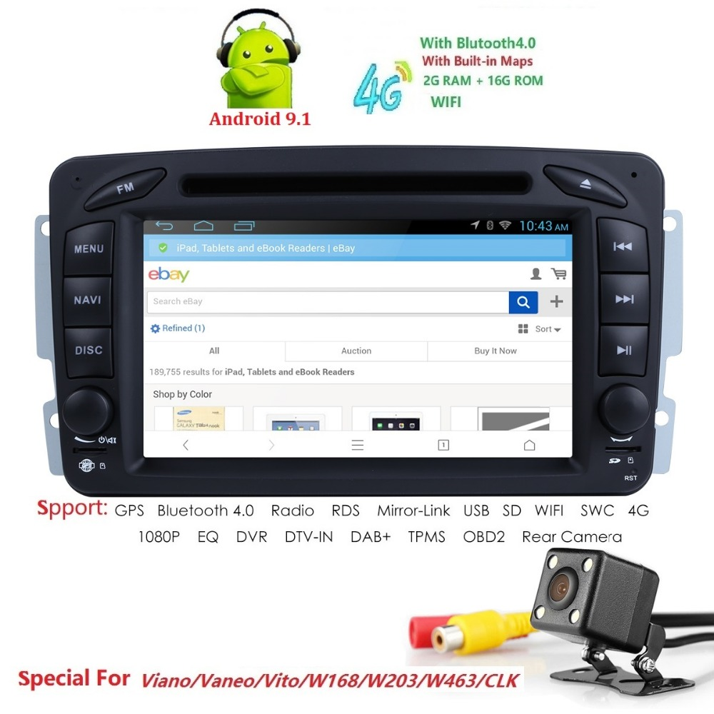 Car Multimedia Player Two Din Android 9.1 DVD Automotivo For Mercedes/Benz/W209/W203/Viano/W639/Vito GPS Radio FM USB DVR CameraCar Multimedia Player Two Din Android 9.1 DVD Automotivo For Mercedes/Benz/W209/W203/Viano/W639/Vito GPS Radio FM USB DVR Camera