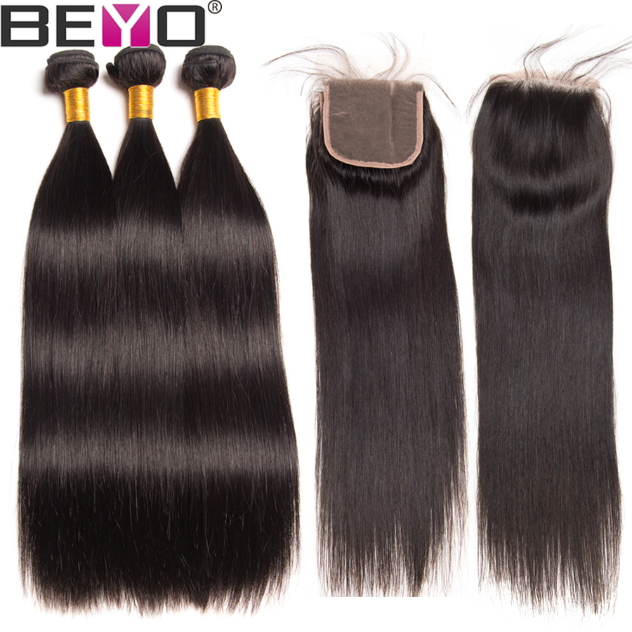 Beyo Straight Hair Bundles With Closure Peruvian Hair 3 Bundles With Lace Closure 4 Pc Non