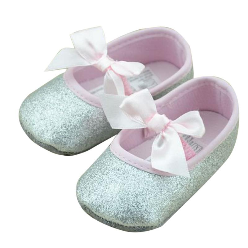 Baby Shoes Newborn First Walkers Infant Soft Bottom Toddler Girl Shoes Silver Sequins Shoes for Girls Kids
