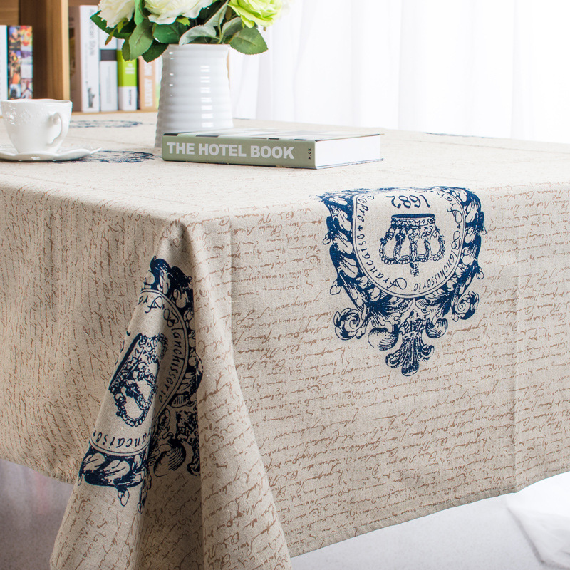 2015 Hot Sale Retro Big Crown Design Classic Linen Cotton Tablecloth Quality Guarantee Home Party Table