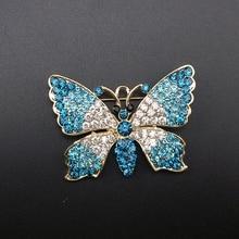 1 Piece Fashion Elegant Women Gold Aqua Blue / Pink Crystal Rhinestone Fairytale Butterfly Insect Brooch Pin, Item NO.: BH7533