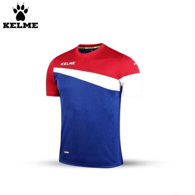 Kelme K15Z219 Men Summer O-Neck Short Sleeve Football Tops Blue Red White 19a589be9f327