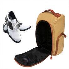 Tourbon Vintage Golf Shoes Bag Carrier Canvas Zipped Sports Shoe Case Khaki Color