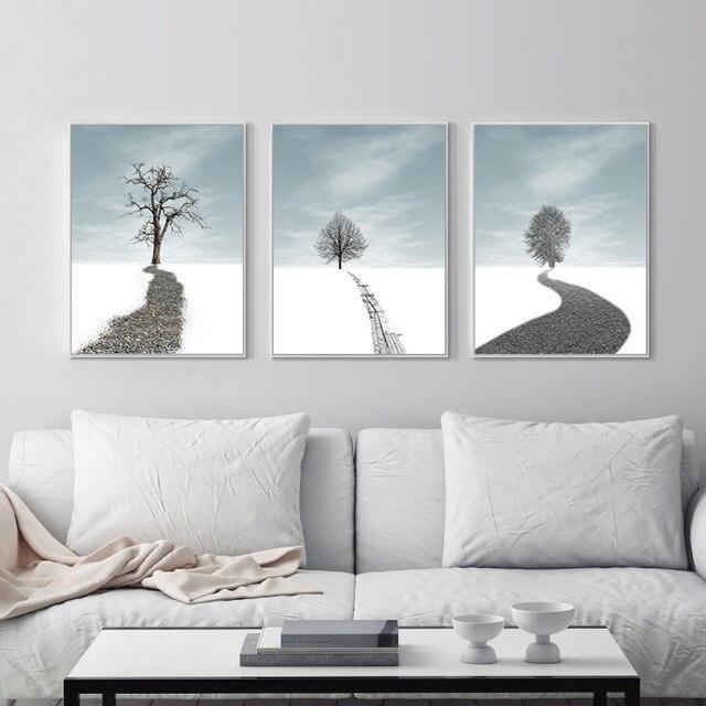 nordic rbol abstracto paisaje decorativo lienzo pintura murales moderno para saln cuadro de la pared carteles