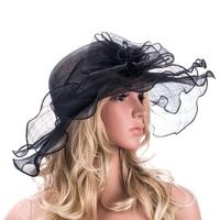 Women Wide Brim Hats Black Ivory Blue Flora Floppy Sinamay Fascinator Hats Ladies Kentucky Derby Church Party Hats Beach Sun Hat