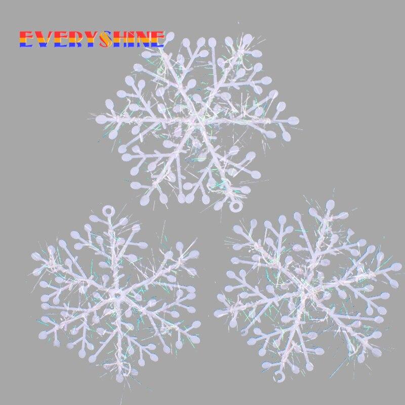 Φ_Φ15 unids/lote Navidad ornamento blanco plástico Snowflake 15 cm ...