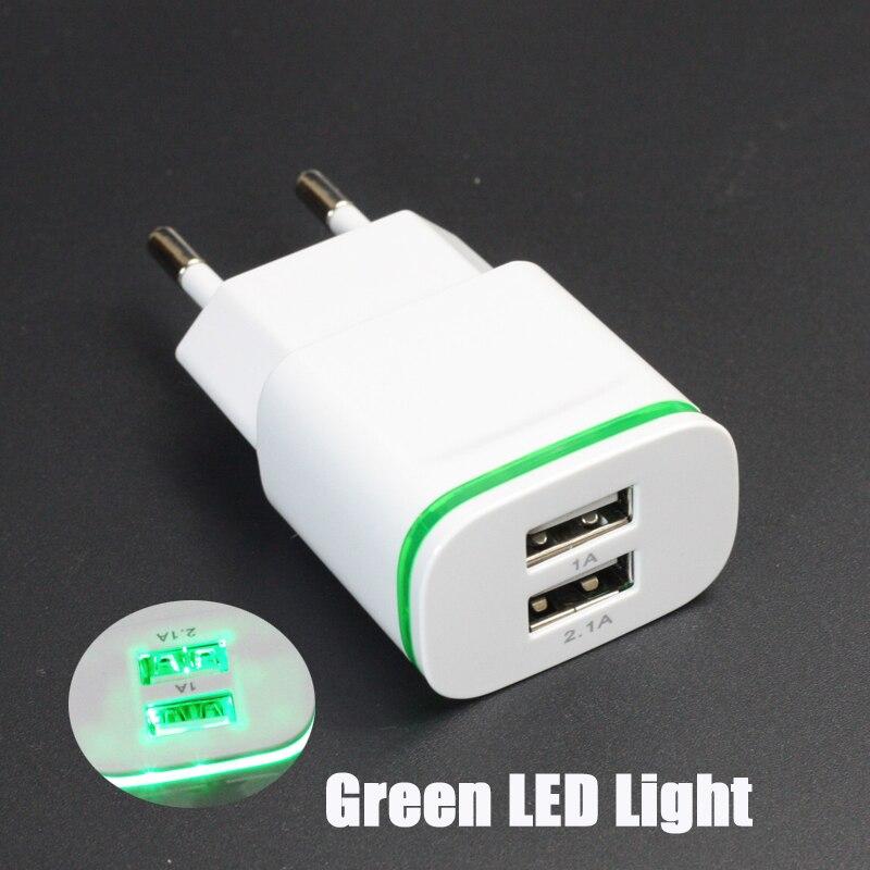 LED ljus 2 USB adapter Mobiltelefon Väggladdare 2A Enhets Micro Data Laddning För iPhone 5 6 iPad Samsung