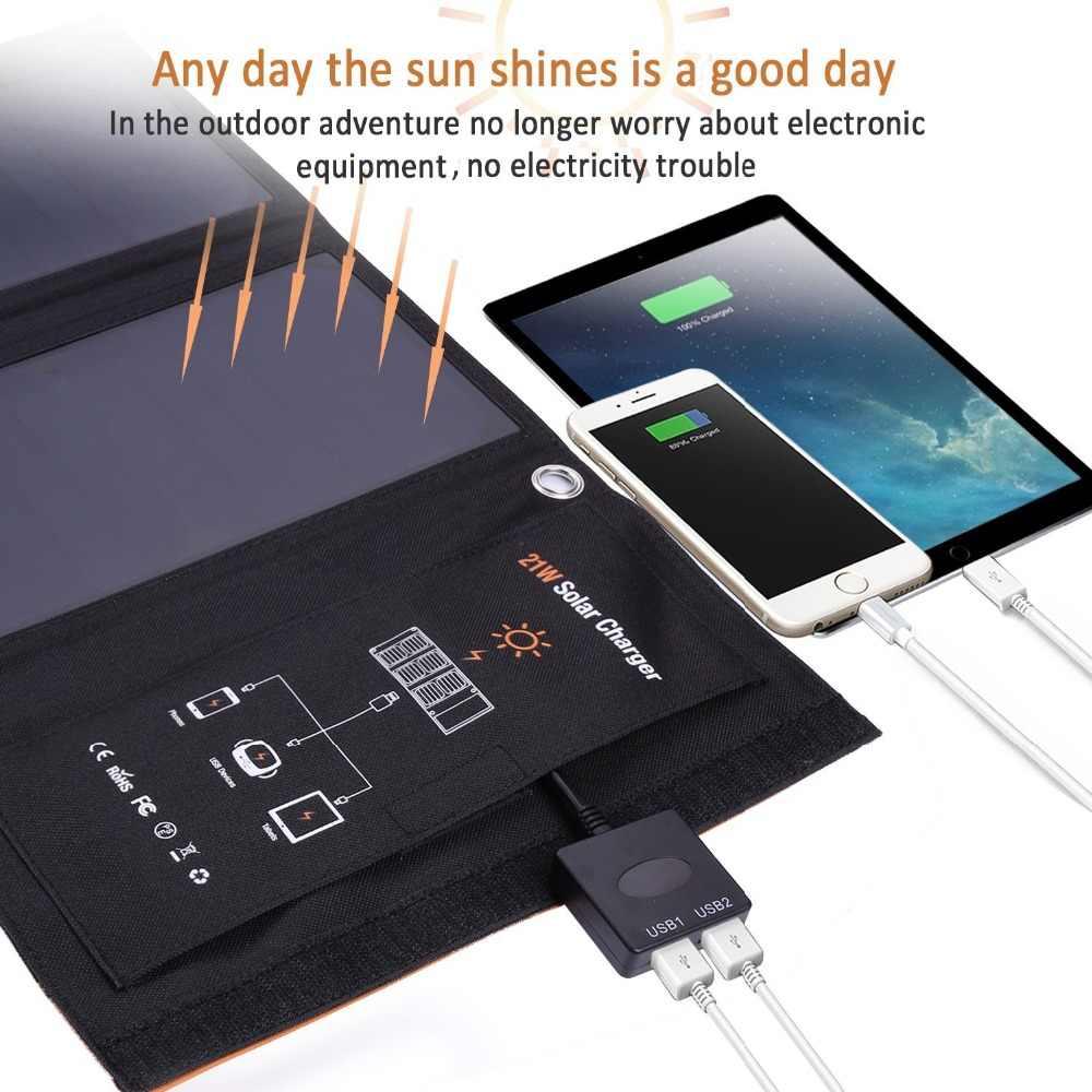 Xionel 21 W Portabel Tenaga Surya Pengisi Daya dengan Port USB Ganda Panel Surya untuk iPhone 6 S 6 Plus, android, Samsung, HTC, LG, Perhubungan, dan Banyak Lagi
