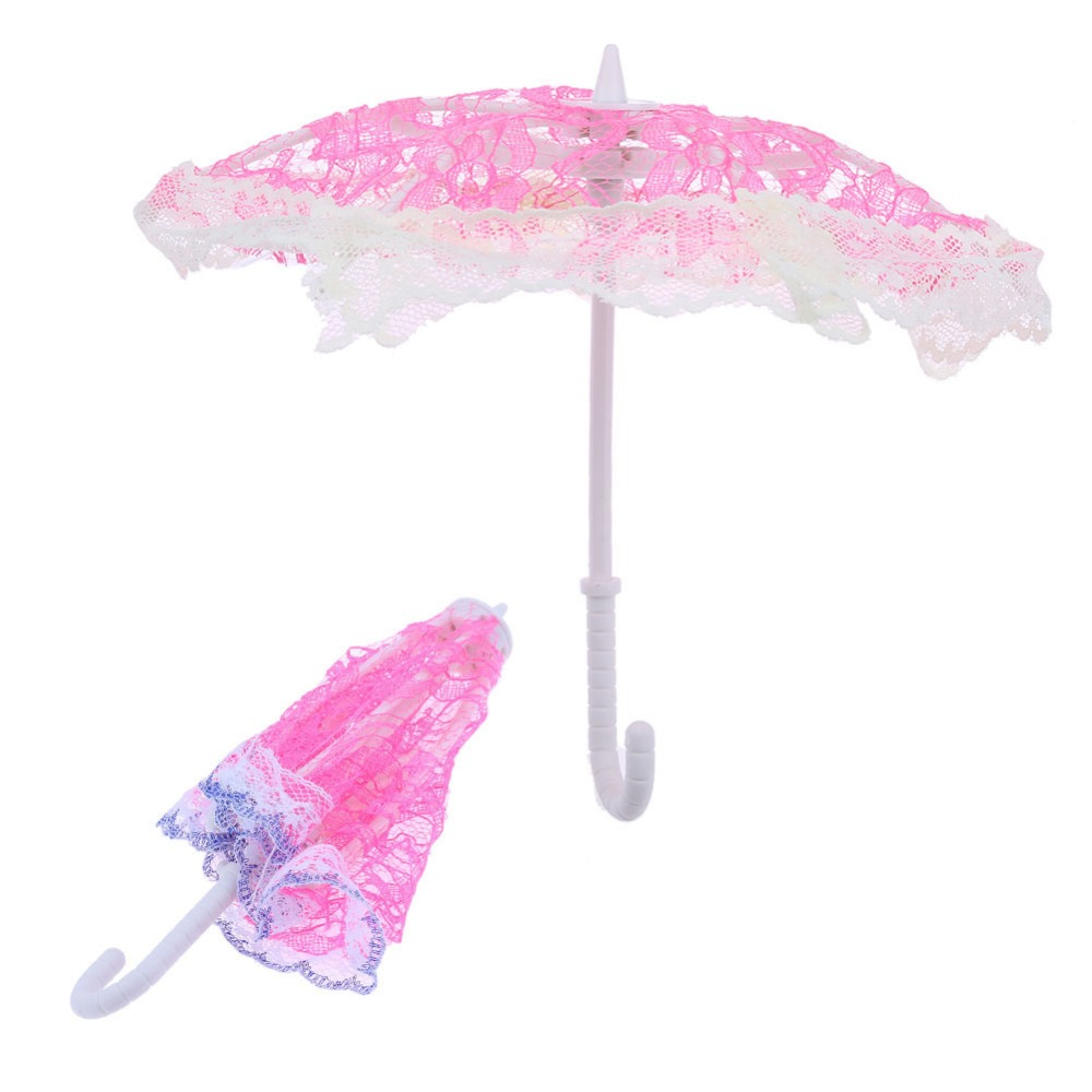 1 Pcs Pink Lace Umbrella Doll Accessories Small Handmade Doll's Plastic Lace Fantasy Umbrella For Barbie dolls toy Birthday Gift handmade cotton lace parasol umbrella and hand fan party wedding decor