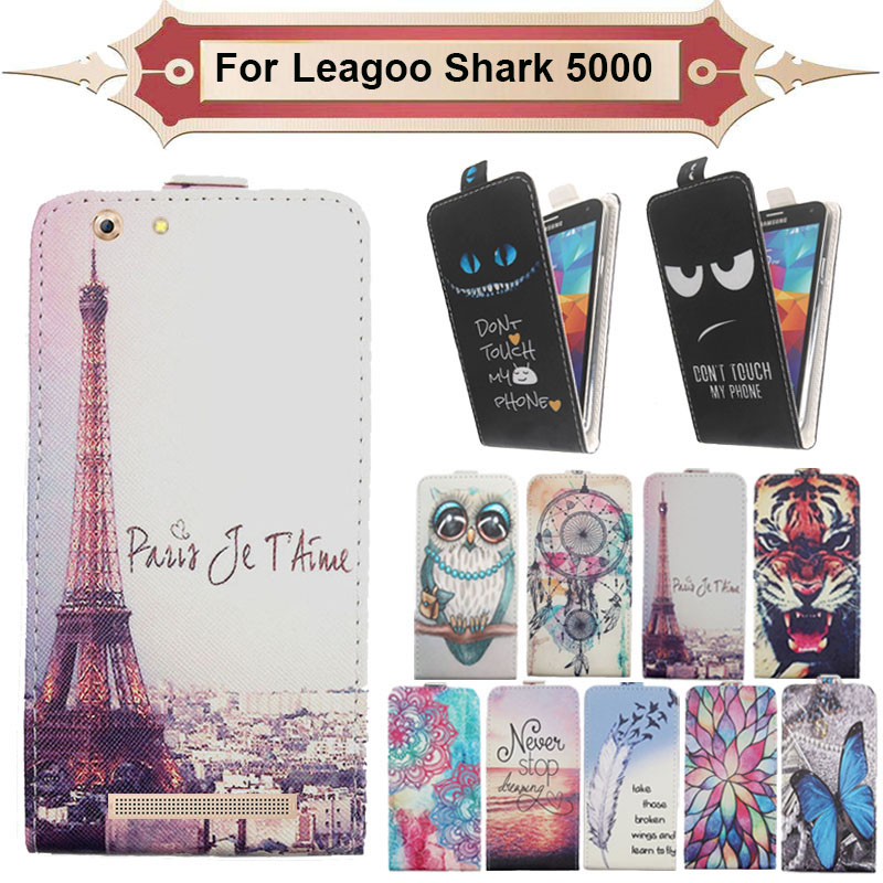 Top Selling 11 Colors Cartoon Pattern Up and Down Flip PU Leather Case For Leagoo Shark 5000