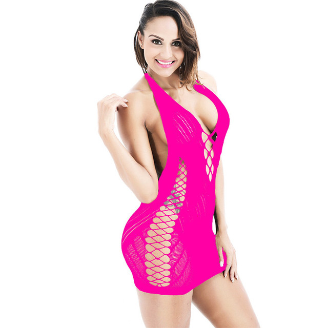 Plus Size Lingerie Sexy Hot Erotic Mesh Baby Doll Women Fishnet Underwear Hollow Out Mini Dress Sexy Lingerie Erotic Costumes 2