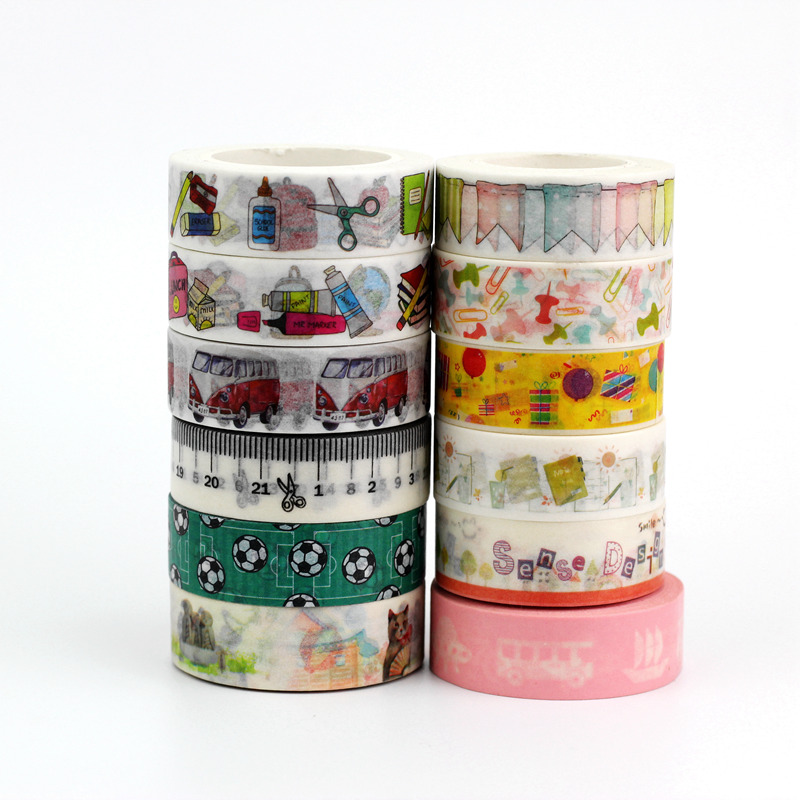 1.5cmx10m Cute School Day Designs Decorative Washi Tape Paper Set DIY Scrapbooking Planner Masking Tape Adhesive Tape Stationery