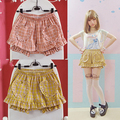 Cute Women's Plaid Summer Shorts Heart Shape Patch Flounced Small Love Pocket Plaid Shorts Orange For Sweet Girl Bloomers Shorts