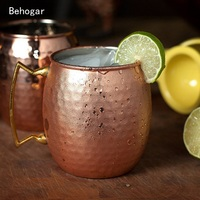 2 Pcs 530ml Stainless Steel Copper Plating Hammered Drum Style Moscow Mule Beverage Mug Cups With