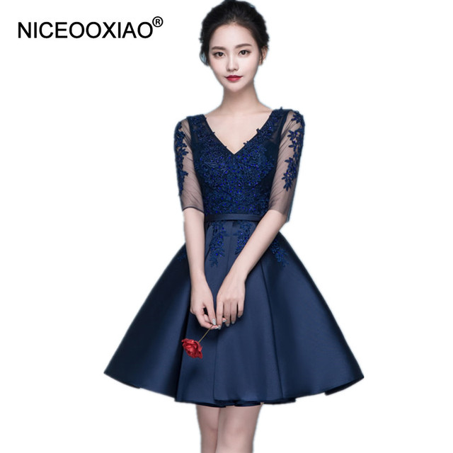 fea1a3b6ae86a NICEOOXIAO 2019 Dark Blue Evening Dress Sexy V Neck Lace Beading Short  Formal Dresses Women Fashion Party Ball Gown