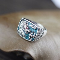 New Fashion Men Burn Blue Dragon Ring Silver Ring Retro S925 Sterling Silver Men Chiese Dragon Ring