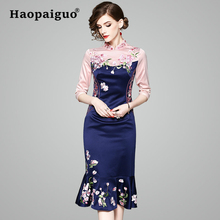цена на Plus Size Cheongsam Style Party Dress Women Trumpet Floral Embroidery Wrap Women Dress Elegant Ladies Bodycon Dress New Year