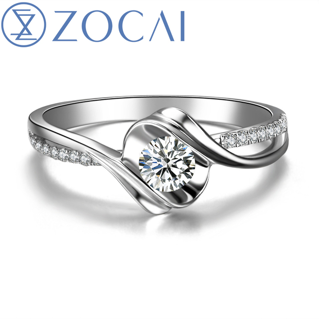 "ZOCAI Encounter ""0.4 Carat Effect"" 0.14 CT Certified Round Cut 18K White Gold (AU750) H/ SI Diamond Engagement Ring W02534"