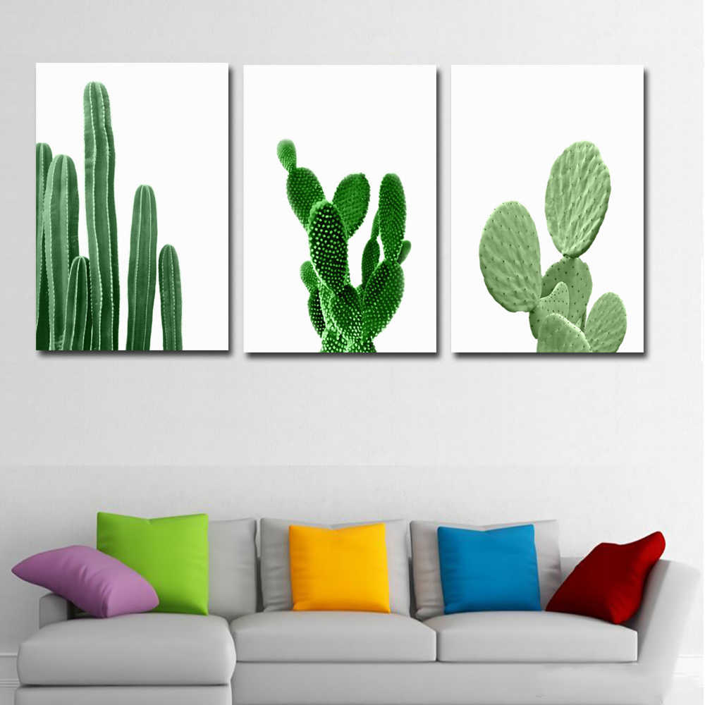 Nordic Watercolor Succulent Green Plants Canvas Art Print Poster, Cactus set Murals For Living Room Modern Home Decor