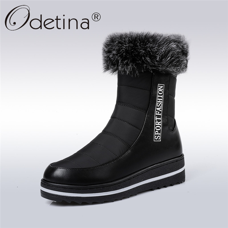купить Odetina 2017 New Fashion Zip Fur Snow Boots Flat Women Platform Ankle Boots Waterproof Winter Thick Plush Warm Shoes Big Size 44 дешево
