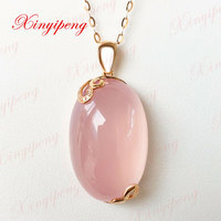 18 K Rose Gold With 100 Natural Rose Quartz Pendant Pink Contracted And Delicate Fine Jewelry