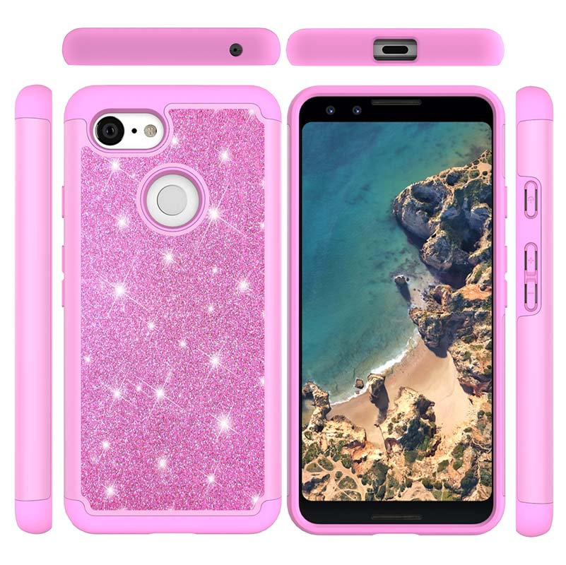 Bling Glitter 2 In 1 Case For Google Pixel 3 XL Back Cover Luxury Shockproof TPU Silicone PC Plastic Cases For Google Pixel 3