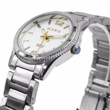 цена на Alexis Unisex 2035 Quartz Round Watch Japan Miyota Movement Shiny Silver Stainless Steel Band Gold Dial Water Resistant