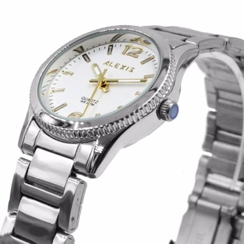 Alexis Unisex 2035 Quartz Round Watch Japan Miyota Movement Shiny Silver Stainless Steel Band Gold Dial Water Resistant