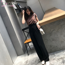 ICHOIX 2 pieces set summer Casual outfit Wide leg pants and cotton t shirt female sets lace up women two