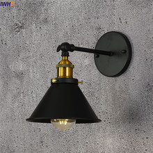 IWHD Nordic Edison LED Wall Lamp Iron Adjustable Wandlamp Black Simple Fixtures Indoor Bathroom Light Applique Murale Luminaire