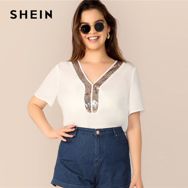 SHEIN Plus ize White V-Neck Contrast Sequin Detail Top   Blouse   2019 Women Summer Casual Short Sleeve Officewear   Blouses     Shirt