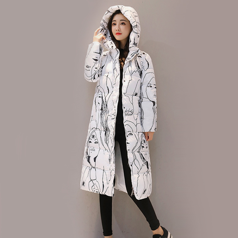 Women's Plus Size Hooded Long Down   Parkas   2018 Autumn Winter Female Print Outwear Ladies Thick Cotton Padded Solid Warm Coats