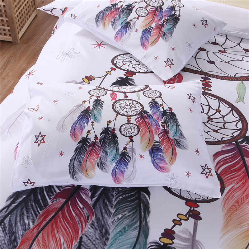 Bonenjoy الأبيض طقم سرير حجم الملك غطاء لحاف ريشة طباعة للفتيات المستخدمة سرير مفرد غطاء لحاف الكتان الملكة