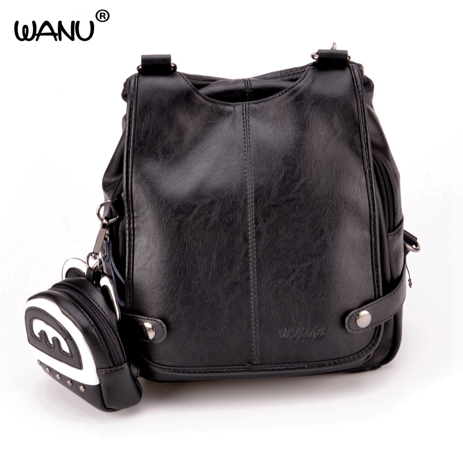 WANU marque sacs à dos en cuir femmes mode Mini petit sac à dos noir doux solide filles école sacs à bandoulière Mochila Feminina