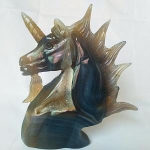 Image 2 - UNA pietra Naturale agata intaglio unicorno teschio di cristallo cristalli geode cluster creativo scultura decorazione della casa nobile e puro