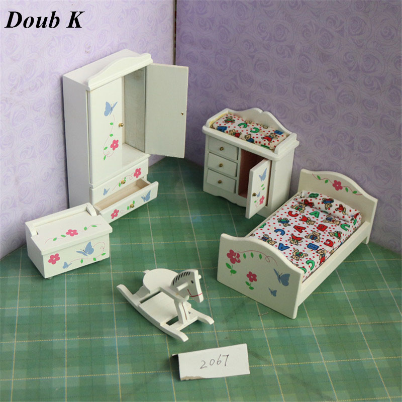 Doub K 1:12 miniature dollhouse furniture wooden furniture bedroom set wood dolls house pretend play toys for girls children kid цена