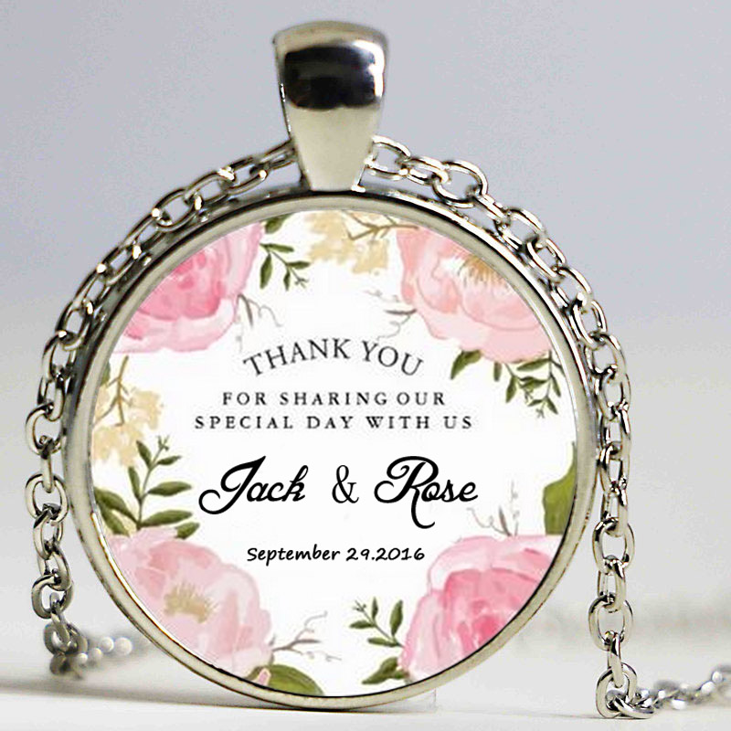 Fashion Modern Vintage Pink Floral Wedding Thank You Favor Classic custom photo Round pendant glass cabochon necklace Jewelry